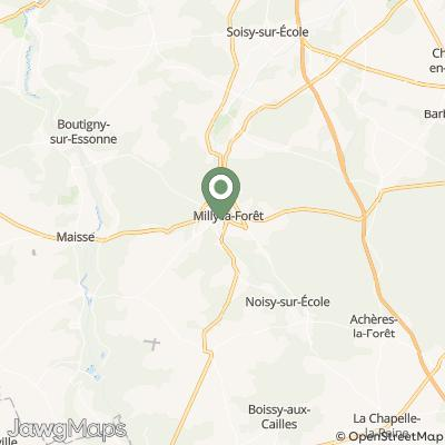 localisation de L'Herbier de Milly et La Distillerie du Gâtinais